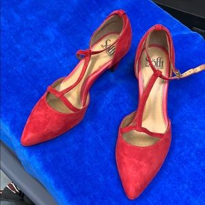 Sofft red suede shoes, brand new, never worn.